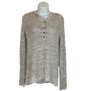 Free People Crochet Button Pullover Hoodie XS